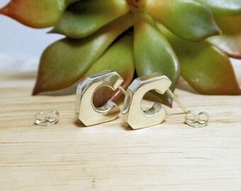 Unique 14 mm Length Sterling Silver Open Hoop Earrings,Half Hoop Earring,Stud Earrings,Geometric Earring,Personalized Gifts,Gifts For Her