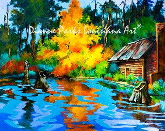 The Fire Tree, Louisiana Swamp Painting, Louisiana Bayou Art, Log Cabin, Autumn Colors, Louisiana Swamp Souvenir and Gift, FREE SHIPPING!