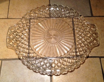 Small Round Clear Diamond Glass Serving Tray