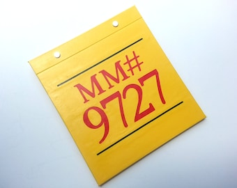 Race Bib Holder - Marathon Maniac Asylum Number Personalized MM# - Hand-bound Book for Runners