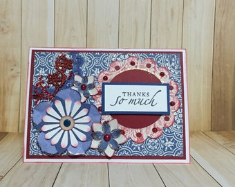 Thank you card.  All occasion card.  Blue.  Floral card. Handmade card. Greeting card. Red.