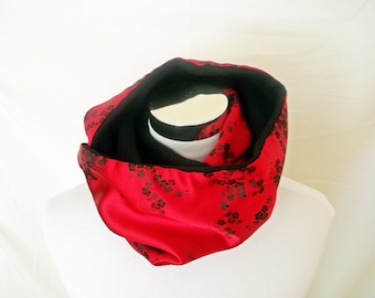 Red Cherry Blossom Brocade and Black Fleece Reversible Cowl - Sophisticated Formal Cowl One Side, Comfortable Warm Other Side - Gift for Her