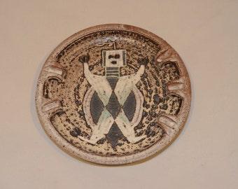 Vintage Iris Barna Studio Pottery Ashtray with Native American Design Motif - Southwestern US 1960s