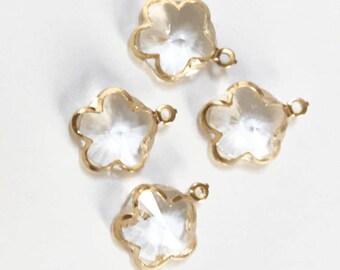4 pcs of light gold glass flower charm 20x16mm, flower pendant