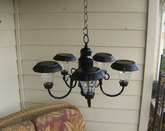 Cabin Outdoor Solar Chandelier, Patio, RV'ing