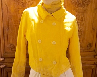 50S Yellow Vixen Cropped Midriff Doublebreated Tailor Made Woolen Jacket Blazer