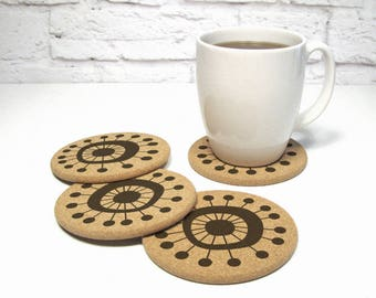 Cork Coasters With Atomic Starburst Sputnik Mid Century Modern Design