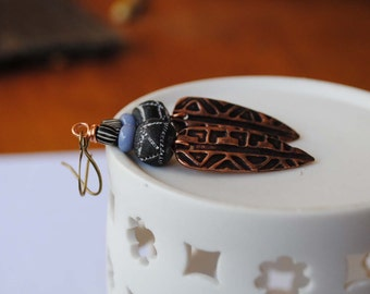 Rustic Tribal Earrings, Pointed Dagger Earrings, Copper Clay Earrings, African Inspired Earrings, Ethnic Earrings, Gypsy Boho Earrings