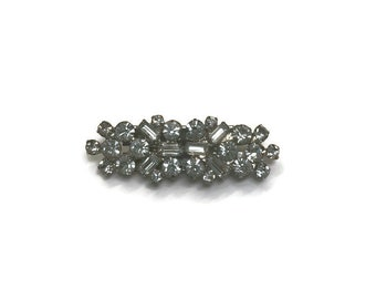 Vintage Rhinestone Clip/Pin or Duette, Brooch Dress Clips Set, 1930s 1940s 1950s Costume Jewelry