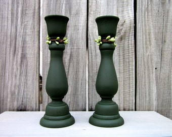 Candle Holders, Green, Taper Candles, Wooden Holder, Pip Berries, Candle Sticks, Pair, Set of Two, Cottage Chic, Painted Wood, Home Decor