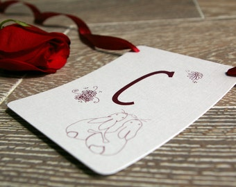 Cards Banner with classic hugging bunnies design. Wedding Garland.