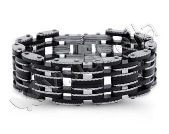 Mens Rubber Stainless Steel Modern Bike Chain Bracelet