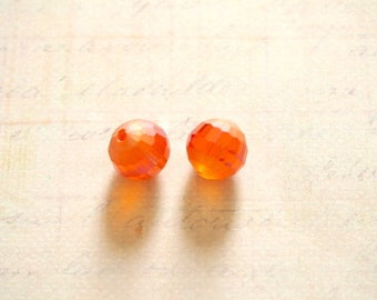 2 Orange faceted Crystal beads and matte 10mm band