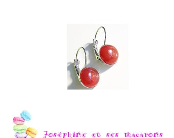 Silver Earrings and the carnelian cabochons