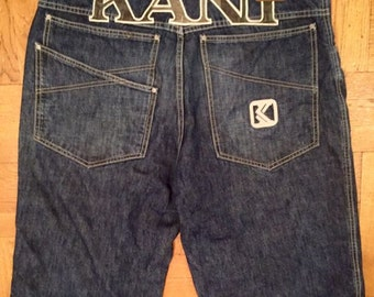 KARL KANI shorts, vintage denim shorts of 90s hip-hop clothing old-school, 1990s gangsta rap, OG size W 38