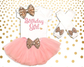 Birthday Girl 1st Birthday Outfit pink and Gold 1st Birthday Girl Outfit First Birthday Birthday Tutu Set First Birthday
