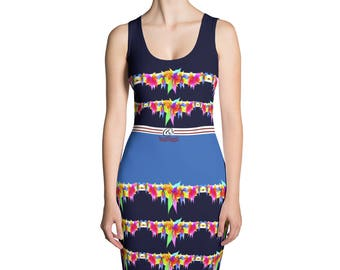Yogi & Pie Summer Tiered Ruffle Dress Print Midnight Blue