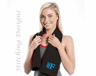 Gym Towel, Fitness Towel, Personalized exercise towel, Custom workout towel, Attendant gift - Black,  White, Red or Turquoise