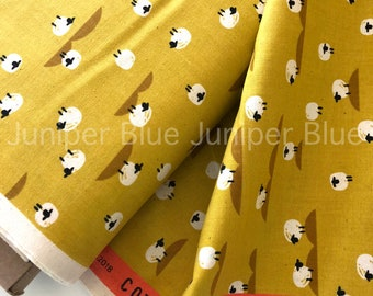 Sheep Mustard- Panorama Collection, Cotton + Steel, Quilting Weight Cotton
