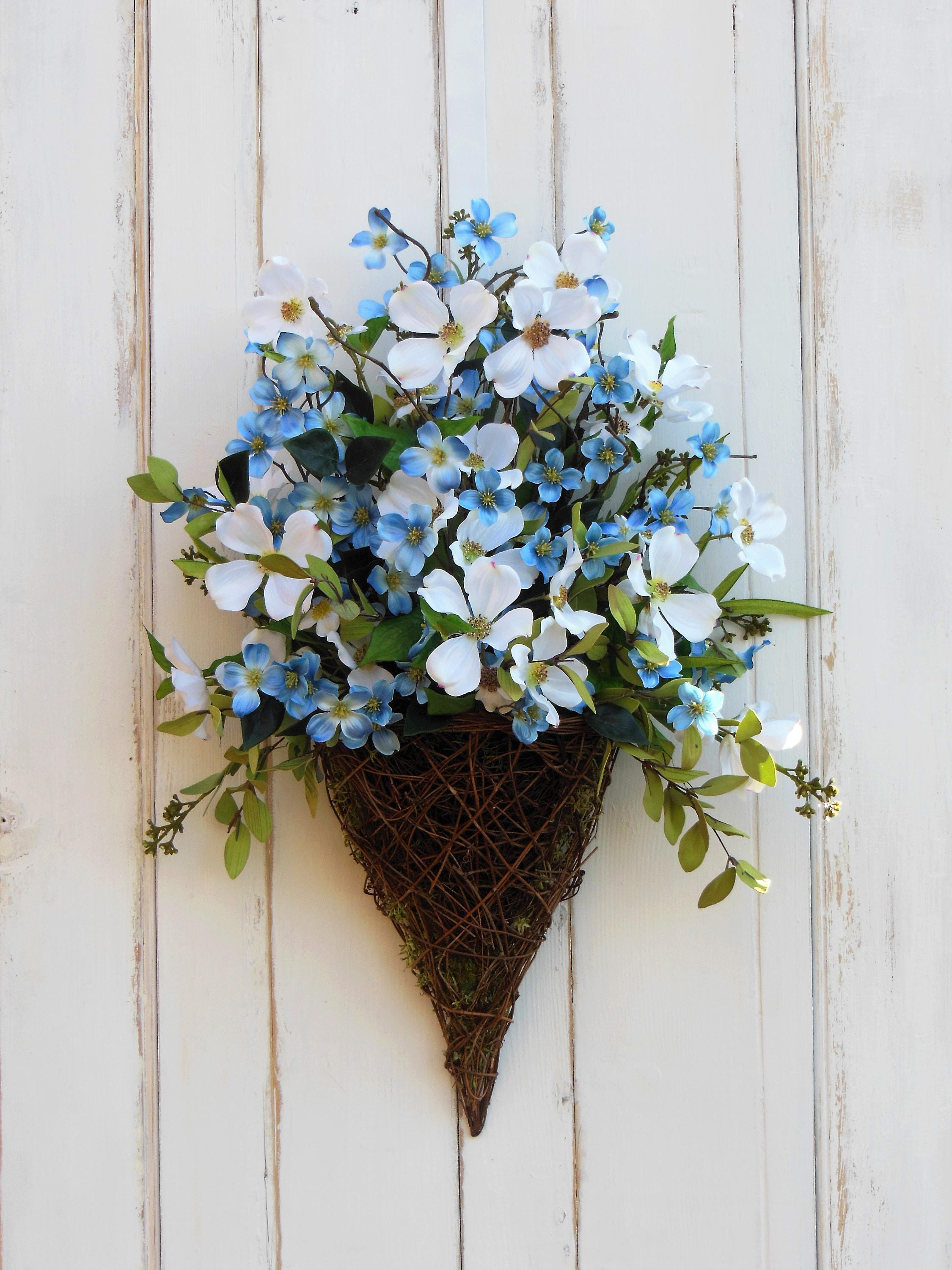 Front Door Wreath Door Basket Blue Flower Wreath Summer Wreath All Season Wreath Wreath for Summer Summer Door Basket Everyday Wreath : door basket - Pezcame.Com