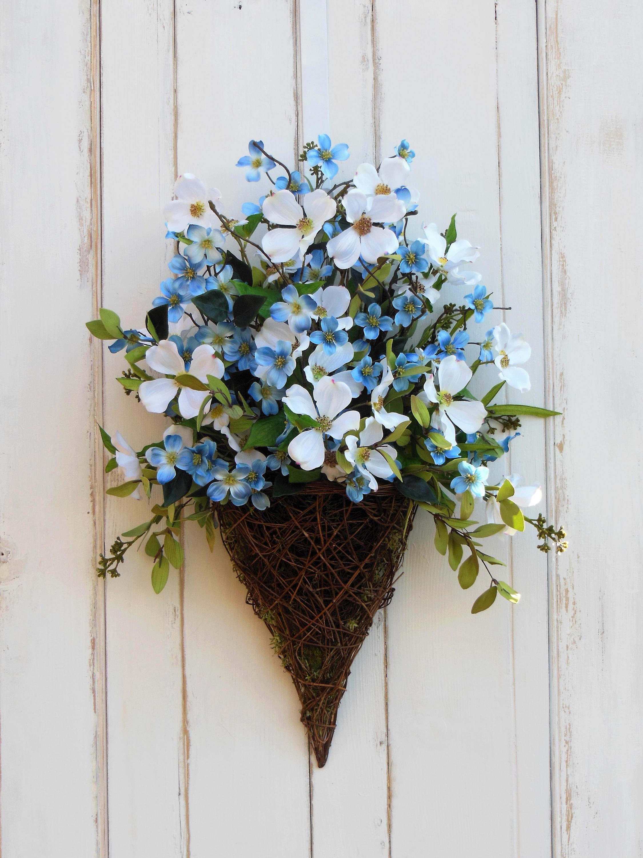 Front Door Wreath Door Basket Blue Flower Wreath Summer Wreath All Season Wreath Wreath for Summer Summer Door Basket Everyday Wreath & Front Door Wreath Door Basket Blue Flower Wreath Summer Wreath ...