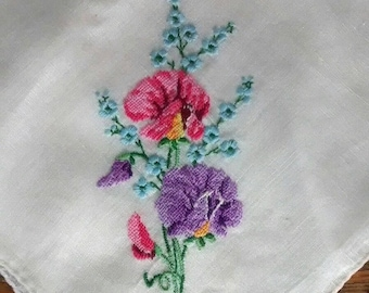 Vintage Petit Point Hand Embroidered Floral Handkerchief, Women's, Hankie