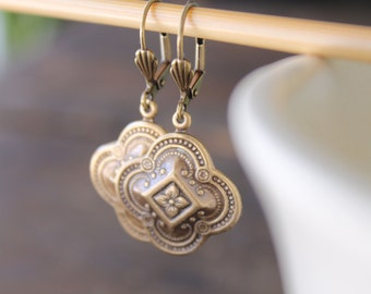 Medea Bright Antique Brass Embossed Quatrefoil Earrings on Shell Leverback Wires - Chi Mu - Irish St. Patrick Day Beauty