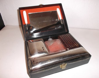 Vintage Art Deco Mens Travel Grooming Toiletries Set European Dopp Case Circa 1930s