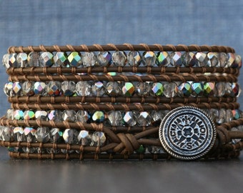 wrap bracelet - chocolate brown leather and clear iridescent crystal