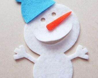 Christmas ornaments, Felt Snowmen Small, make your own Christmas ornaments, felt supplies, Scrapbook Embellishments, Craft supplies