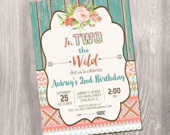 2nd birthday invitation, in Two the wild invite, boho tribal birthday invitation, second birthday invitation, aztec Printable Invitation