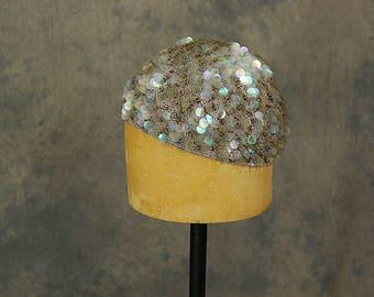 vintage 20s Sequin Skull Cap Flapper Hat - 1920s Cloche Hat