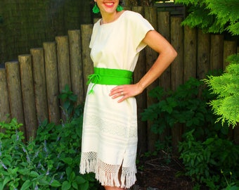 Cream Dress 100% Cotton Hand Embroidered by Indigenous Women, Summer Style Tunic Fringe Bottom, Slow Fashion Backstrap loom Dress with belt