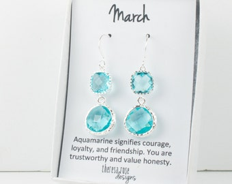 March Birthstone Silver Earrings, Long Aquamarine Silver Earrings, March Aquamarine Earrings, March Birthstone Jewelry, Bridesmaid Jewelry