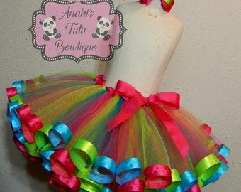 Girls Turquoise Pink Lime Birthday Party Ribbon Trim Tutu Dress Handmade