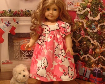 Pink Flannel Nightgown for American Girl Dolls