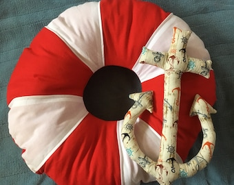 Life preserver or anchor decorative throw pillow