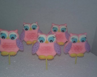 Owl Cupcake Toppers set or 12