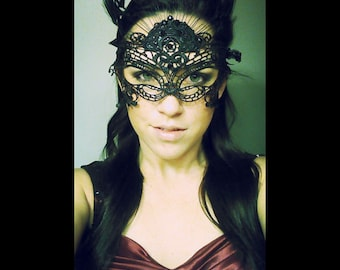 SALE PRICE! Black Lace and feather masquerade mask -Mardi Gras/Burning man