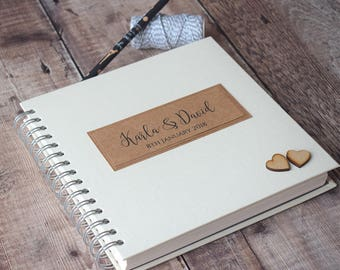 Rustic Personalised Wedding Guest Book with Wooden Hearts. Rustic Guestbook or Wedding Scrapbook.