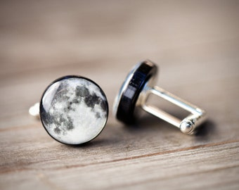 Moon cufflinks, Fathers day gift, Full moon cufflinks, Planet cuff links, Science gift for men, Space Cufflinks for him, Gift for husband