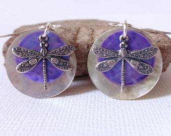 Purple Dragonfly Earrings, Silver Dragonfly Earrings Sterling Silver, Dragonfly Jewelry, Purple Shell Earrings, Mussel Shell Earrings, Twee