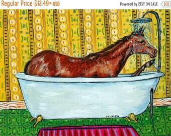 25% off quarter HORSE, HORSE, horse art PRINT poster gift modern folk,  bath, bathroom decor