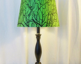 Tree Root Lamp Shade, Green Silkscreened Paper Drum Lampshade, Nepalese Paper Lamp Shade, Green and Black Lokta Paper, Washer Top Lamp Shade