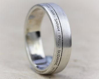 AURA Family Engraved Ring - Wedding Band - Personalised Ring - Silver - Sentimental - Personalized Ring