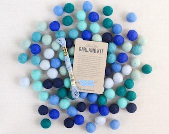 Felt Pom-Poms // Deep Sea Blue // Blue Felt Balls, DIY Party Garland Kit, Wool Felt Beads, Felt Garland, Baby Shower Decor, Birthday Garland