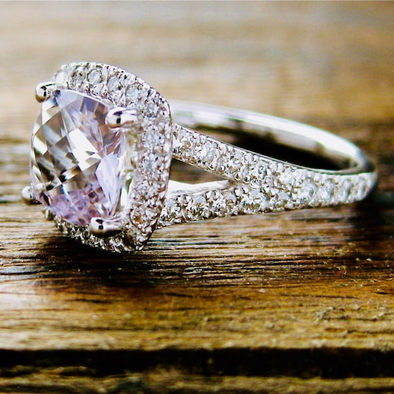 Rose De France Amethyst Engagement Ring in 18K White Gold with
