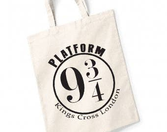 Harry Potter Tote Bag Platform 9 and 3/4 London Kings Cross in Various Colours