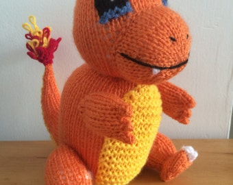Charmander pokemon knitting pattern toy knitted soft toy plushie stuffed toy pattern pdf download