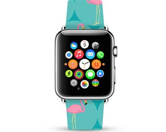 Apple Watch Band 38mm, 42mm for Series 1, 2 & Series 3, Apple Watch Strap genuine Calf Leather Wrist Band with Metal Adapter, Pink Flamingo
